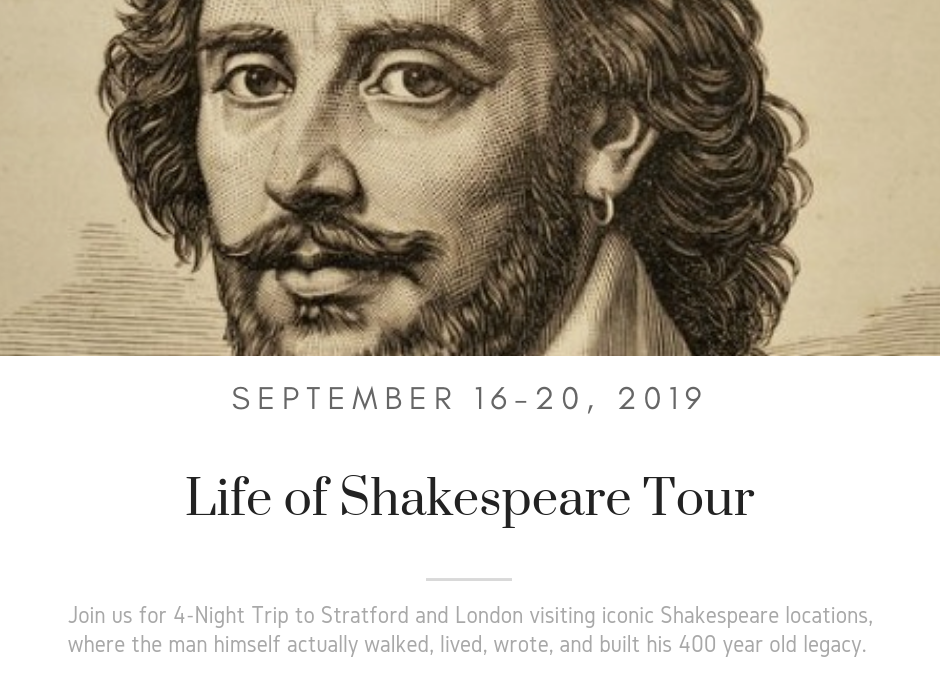 Life of Shakespeare Tour 2019 : Tickets Now On Sale